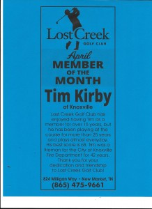 Lost Creek Golf Club April Member of the Month Tim Kirby