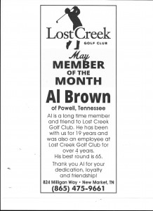 Lost Creek Golf Club May Member of the Month Al Brown