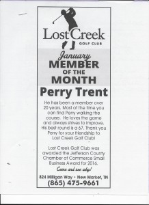 Lost Creek Golf Club January Member of the Month Perry Trent