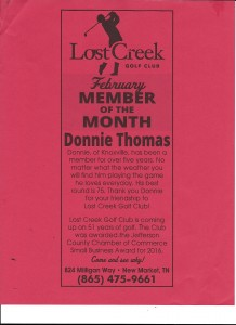 Lost Creek Golf Club February Member of the Month Donnie Thomas